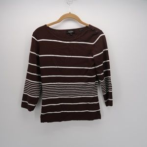 Peck & Peck Striped 3/4 Sleeve Tee T-Shirt Top